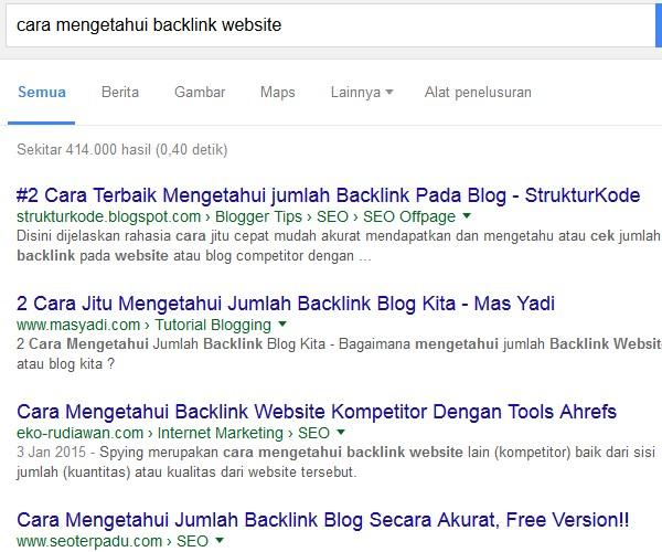 hasil serp cara mengetahui backlink website
