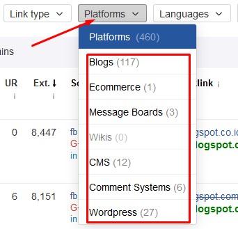 cara sortir backlink berdasarkan platforms