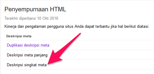 deskripsi singkat di google search console,seo on page
