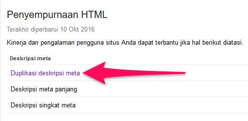 duplikat deskripsi di google search console