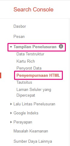 penyempurnaan html search console