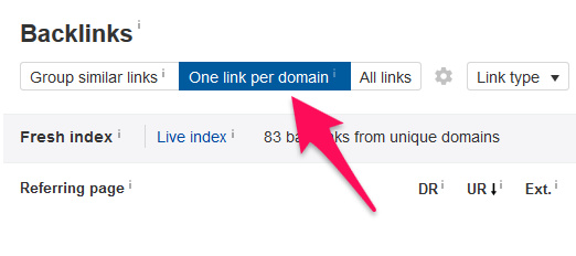 one link per domain ahrefs