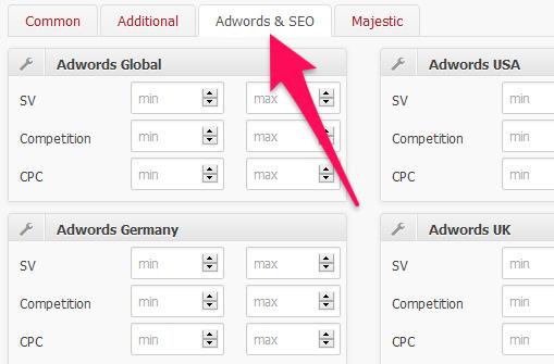 tab menu adwords & seo