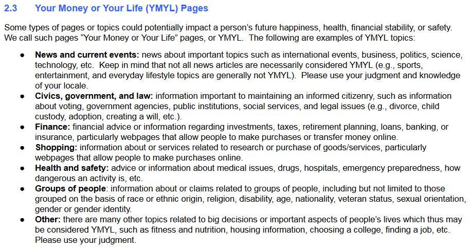 Topik YMYL di Google's QRG