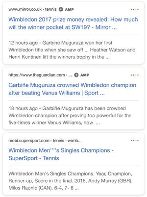 AMP icon di halaman pencarian (SERP)